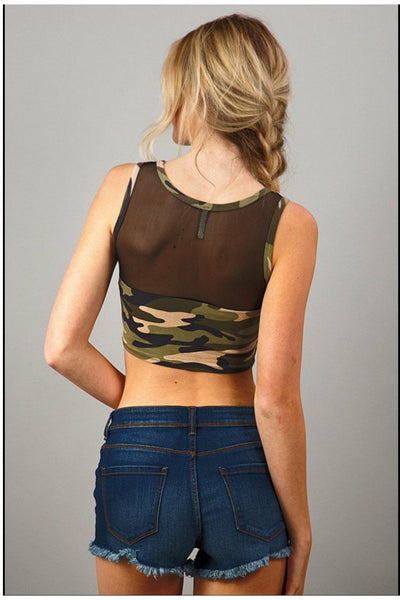 Camo Sleeveless Cropped Top with Mesh Detail