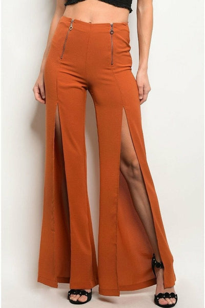 Earth Zippered Front Slit Pants