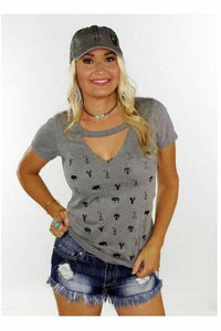 Wild West Icons Cutout Choker Tee