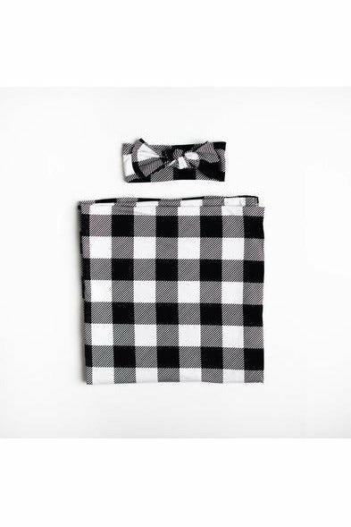 Little Sleepies Black & White Plaid Bamboo Swaddle & Headband Gift Set