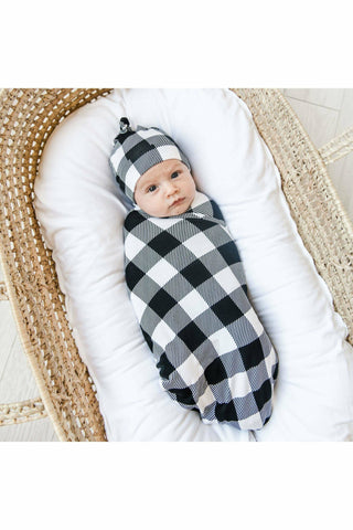 Little Sleepies Black & White Plaid Bamboo Swaddle & Knotted Hat Gift Set