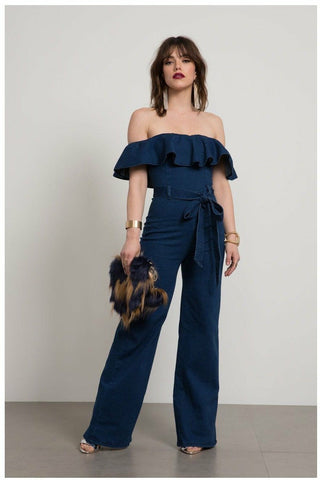 Ruffle Off Shoulder Blue Jean Jumpsuit