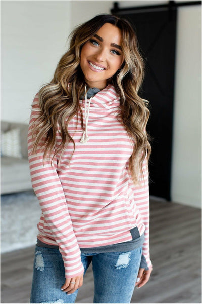 Ampersand Avenue DoubleHood™ Sweatshirt - Pink Stripe