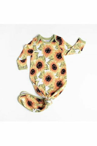 Little Sleepies Sunflowers Bamboo Viscose Infant Knotted Gown