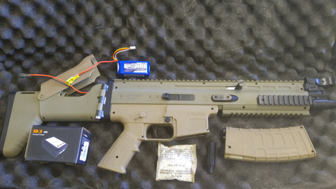 UPGRADED SCAR V2 TOY BLASTER + MULTI UPGRADE PACKS (INSTALLED) + 11.1V + CHARGER + CARRY BAG + MORE : BEAST