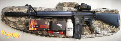 FULLY UPGRADED M16 BLASTER TOY + STAGE 3.5 NYLON GEARBOX 320+ FPS + ALLOY SUPPRESSOR + 11.1V + METAL SCOPE + CASE + MORE