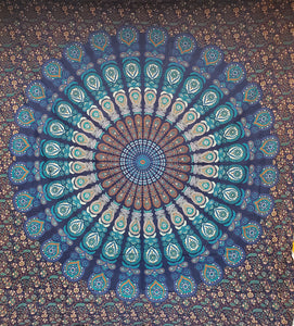 Blue Feather Mandala Queen Tapestry