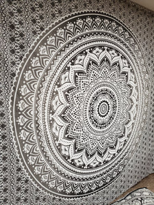 Grayscale Ferris Mandala Queen Tapestry