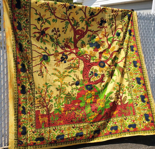 Yellow Tree of Life Queen Tapestry