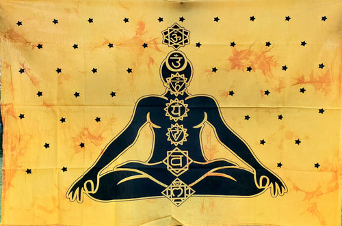 Mini Golden Yoga Chakra Meditation Tapestry
