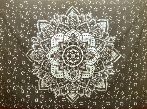 Black & Metallic Silver Mandala Twin Tapestry