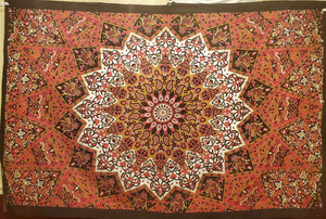 Elephant Star Mandala Red Black Gold Tapestry - Size Twin