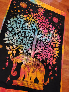 Mini Rainbow Elephant Tree of Life Tapestry