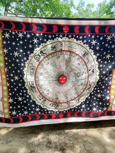 Black & Red Astrology Tapestry - Size Twin
