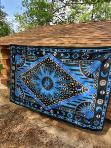 Blue Celestial Rainbow Tapestry - Size Twin