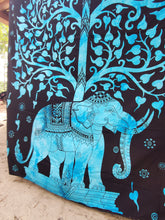 Bright Blue Elephant Tree of Life Queen Tapestry