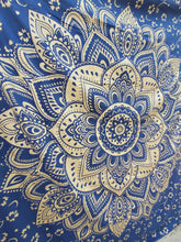 Dark Blue & Metallic Gold Mandala Tapestry