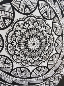 Black and White Bold Mandala Queen Tapestry