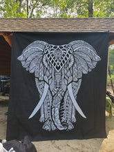 Black & White Elephant Queen Tapestry