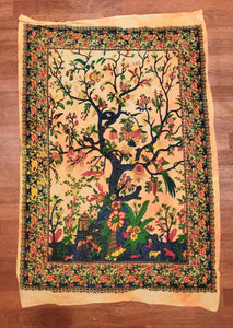 Mini Tree of Life Golden Yellow Tapestry