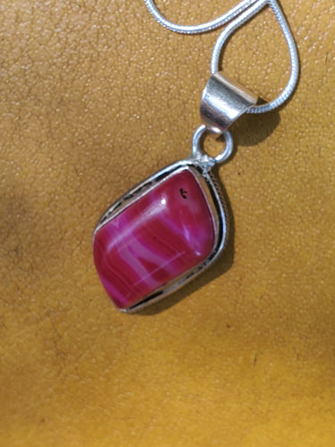 Pink Swatch Gemstone Silver Necklace