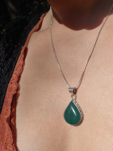 Green Jasper Teardrop Silver Necklace