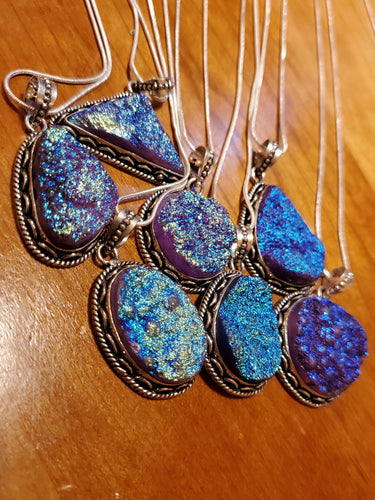 Blue Purple Druzy Necklace