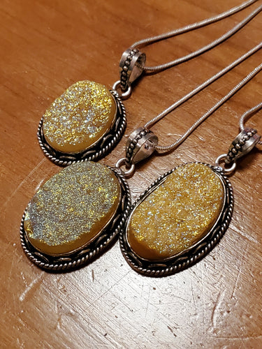 Yellow Druzy Necklace