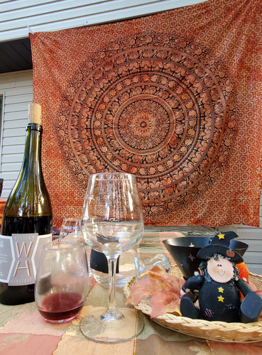 Orange Black Halloween Fall Autumn Tapestry Tablecloth Backdrop Curtain Room Divider Floral Elephant Mandala Pattern