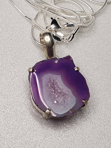 Sliced Purple Agate Pendant
