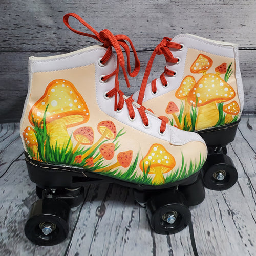 Retro Mushroom Disco Fashion Art Quad Roller Skates Orange Yellow Cream 70s