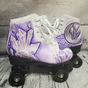 Crystal Witch Crescent Moon Disco Fashion Hand Painted Art Quad Roller Skates Women Size 7.5 Purple Silver Metallic Glitter