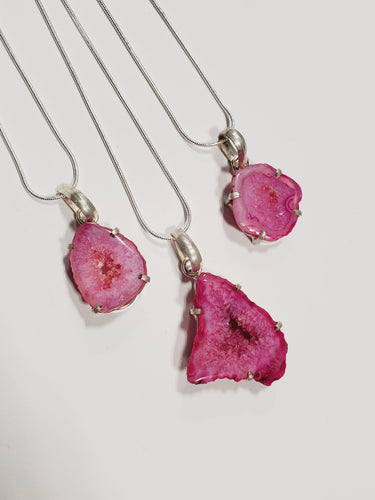 Magenta Pink Agate Slice Druzy Necklaces