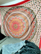 twin festivals  trendy seventies  rave edm gypsy hippy hippie trippy psychedelic retro boho chic college dorm apartment decor yoga  mandala meditation sacred  spiritual metaphysical alter wall hanging witch magic warm tone red orange fall autumn