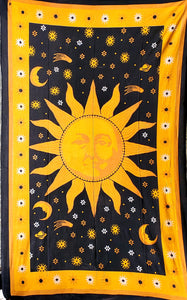 Golden Threads Sun Tapestry - Size Twin