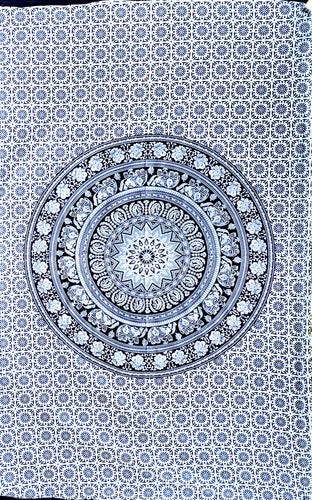 Black & White Mandala Twin Tapestry