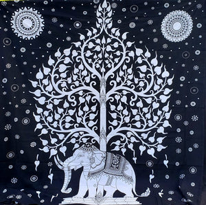 Black & White Elephant Tree of Life Queen Tapestry