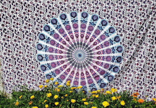 Blossom Mandala Peacock Feather Tapestry - Size Twin