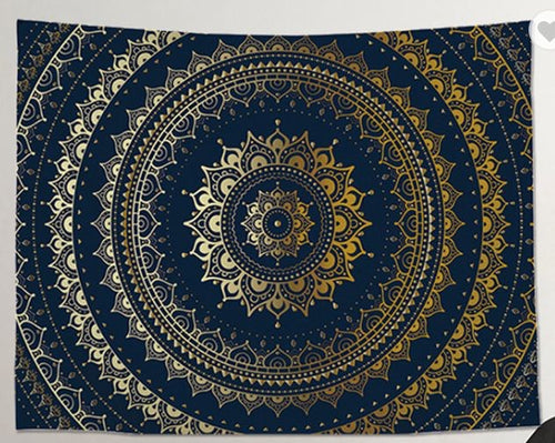 Deep Blue & Gold Mandala Medium Tapestry