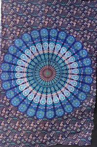 Bright Blue Feather Tapestry - Size Twin