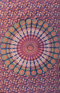 Dark Blue Green Orange Feather Mandala Twin Tapestry