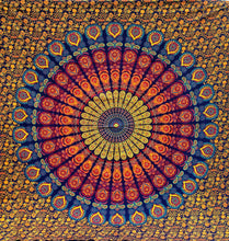 Dark Blue Yellow Orange Feather Mandala Queen Tapestry
