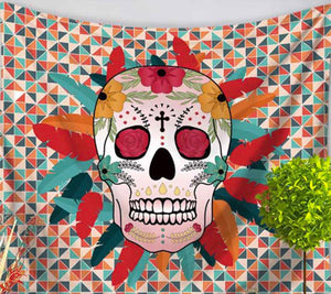Feather Sugar Skull Medium Tapestry