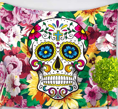 Flower Sugar Skull Medium Tapestry