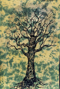 Green Tree of Life Twin Tapestry