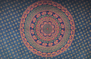 Dark Blue Warm Tone Round Mandala Tapestry - Size Twin