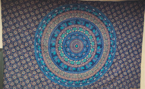 Bright Blue Round Mandala Tapestry - Size Twin