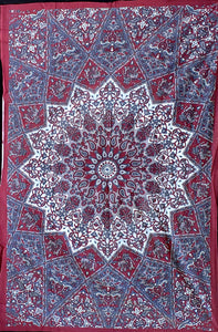 Light Blue Maroon Elephant Mandala Twin Tapestry