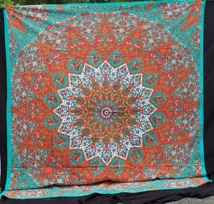 Orange Teal Elephant Mandala Queen Tapestry