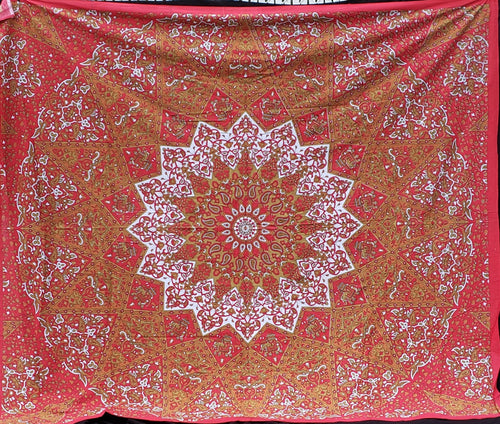 Red Gold Elephant Mandala Queen Tapestry